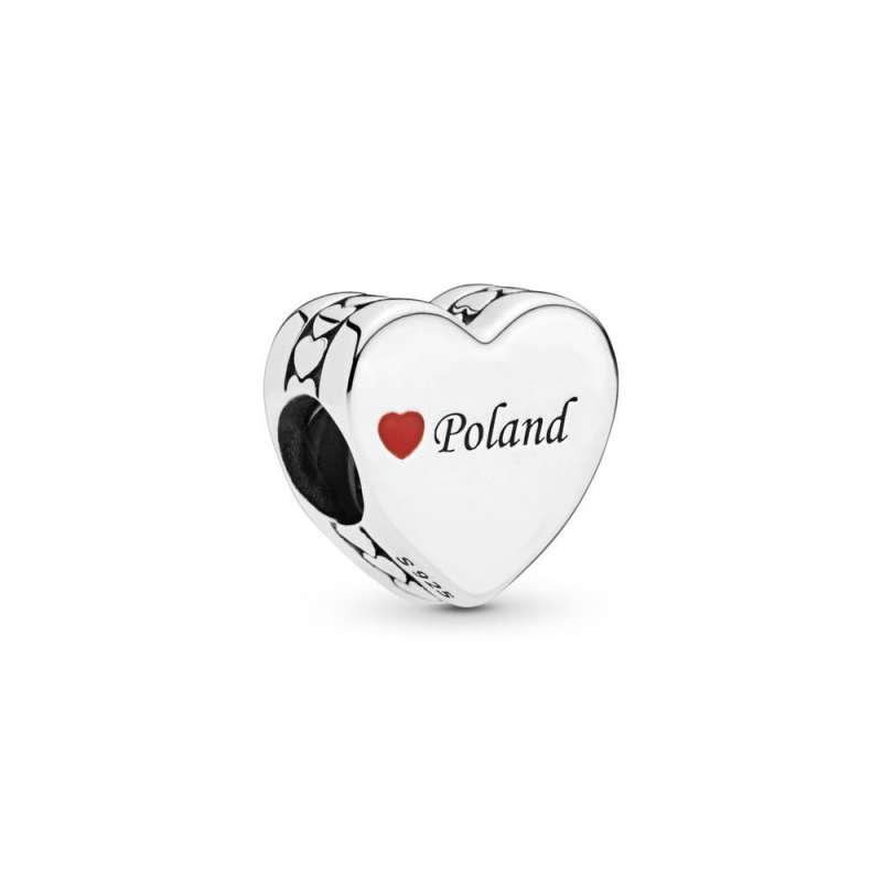 Poland srebrni privezak sa crvenim emajlom