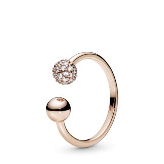 Poliran otvoren prsten sa pavé kamenčićima