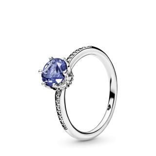 Plavi svetlucavi prsten sa krunom