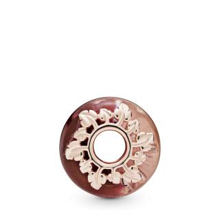 Privezak sa roze Murano staklom i listovima