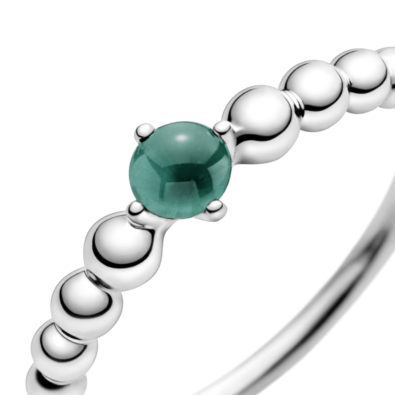 Prsten tamnozelene boje sa perlicama