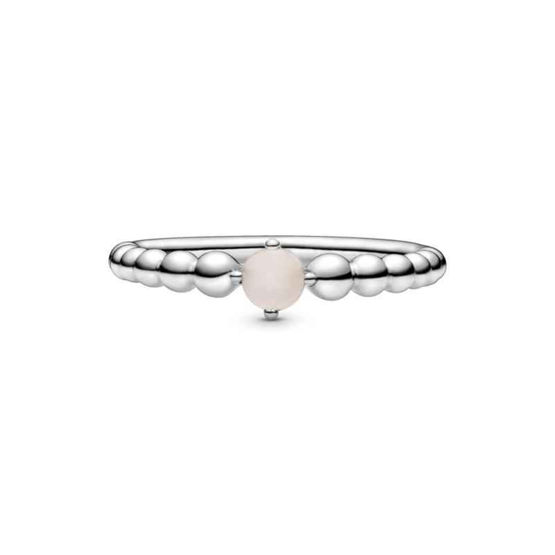 Prsten zagasito roze boje sa perlicama
