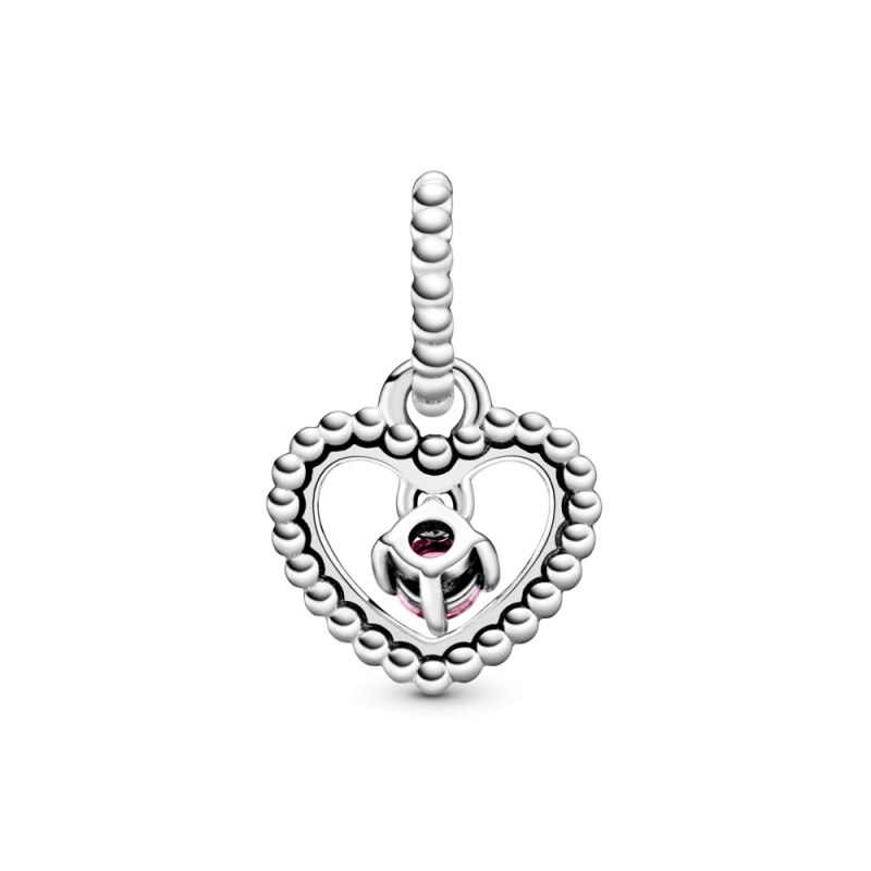Viseći privezak u obliku srca od perlica sa jarkocrvenim kristalom