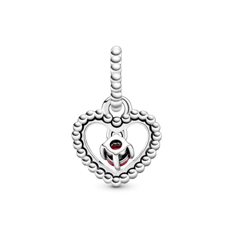 Viseći privezak u obliku srca od perlica sa tamnocrvenim kristalom