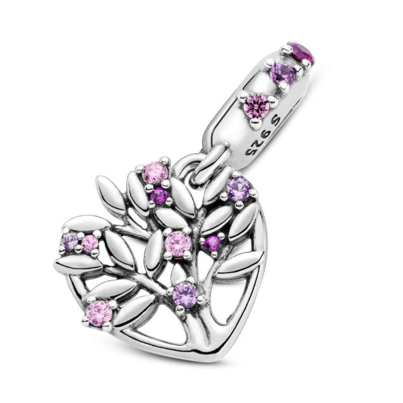 Viseći privezak Roze porodično stablo u srcu