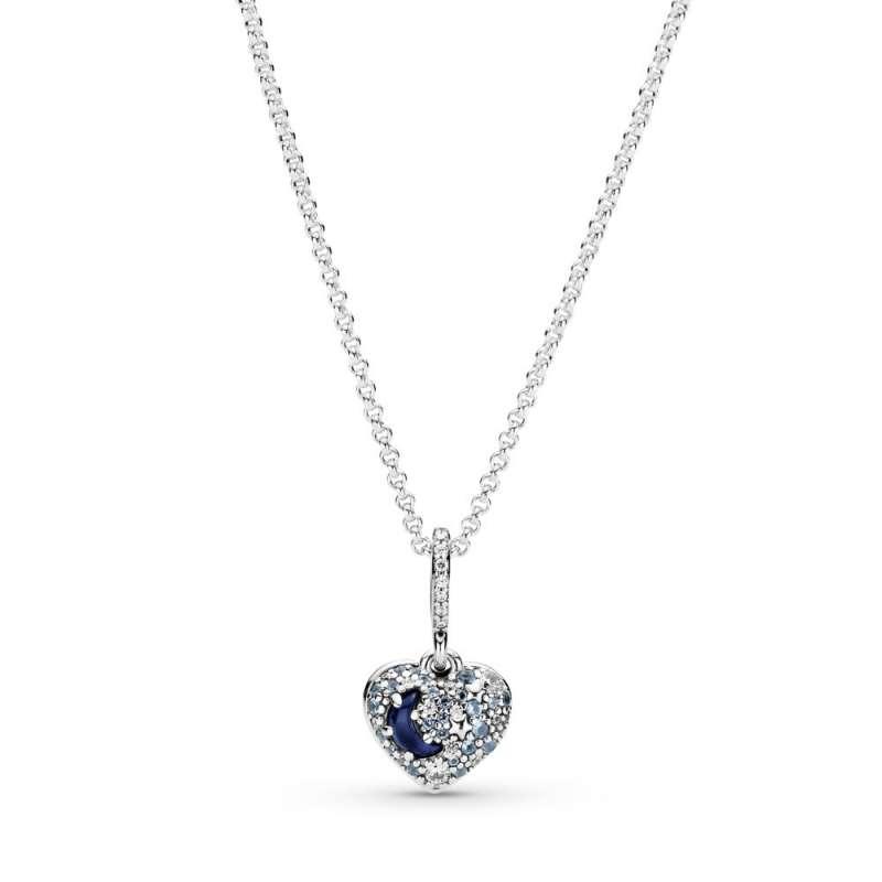 Ogrlica Svetlucavi plavi mesec i zvezdice u srcu