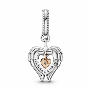 Viseći privezak Pandora Klub 2021 Anđeoska krila i srce