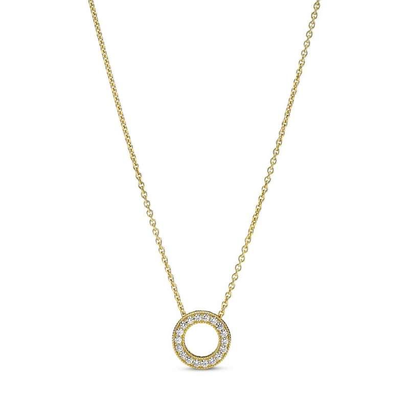 Ogrlica uz vrat Pavé krug sa Pandora logom