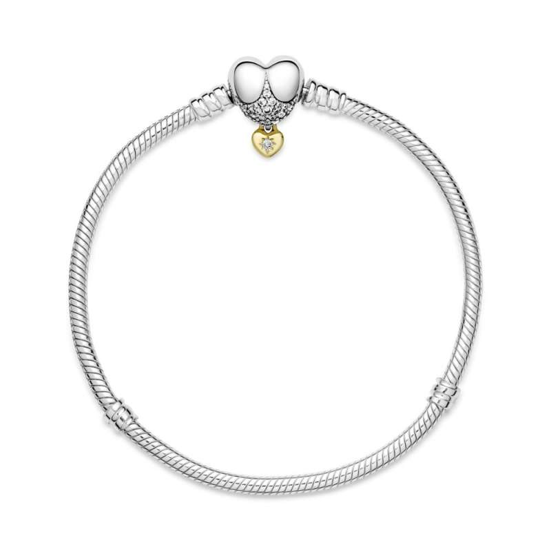 """Narukvica sa kopčom u obliku srca sa """"zmijskom"""" teksturom lanca Disney Princess Pandora Moments"""
