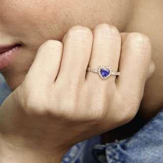 Prsten Svetlucavo plavo reljefno srce