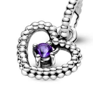 Viseći privezak u obliku srca od perlica sa ljubičastim kristalom