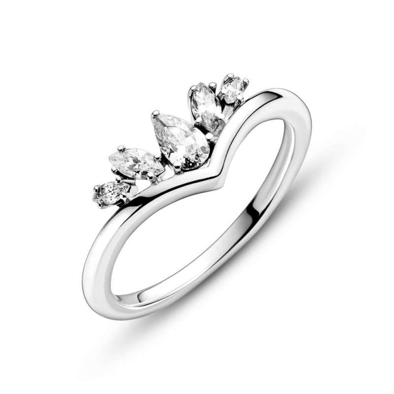 Prsten Ševron sa svetlucavim kruškicama i markizom