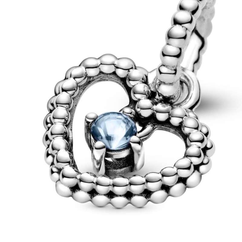 Viseći privezak Srce od perlica sa tirkiznim kristalom