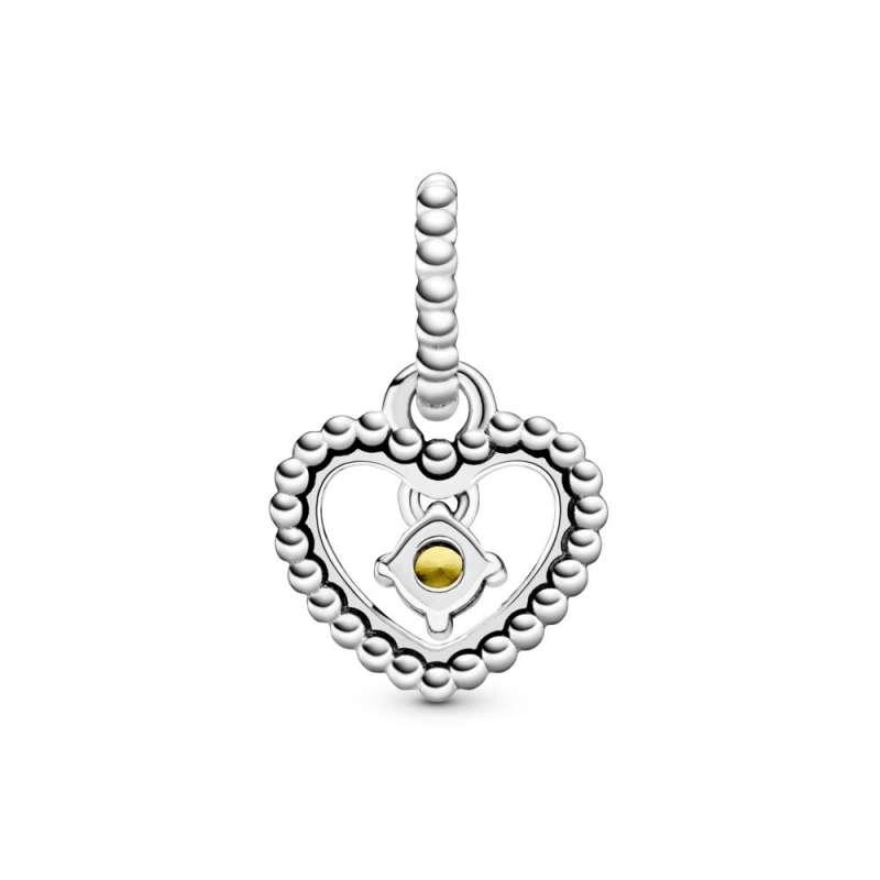 Viseći privezak u obliku srca od perlica sa kristalom boje meda
