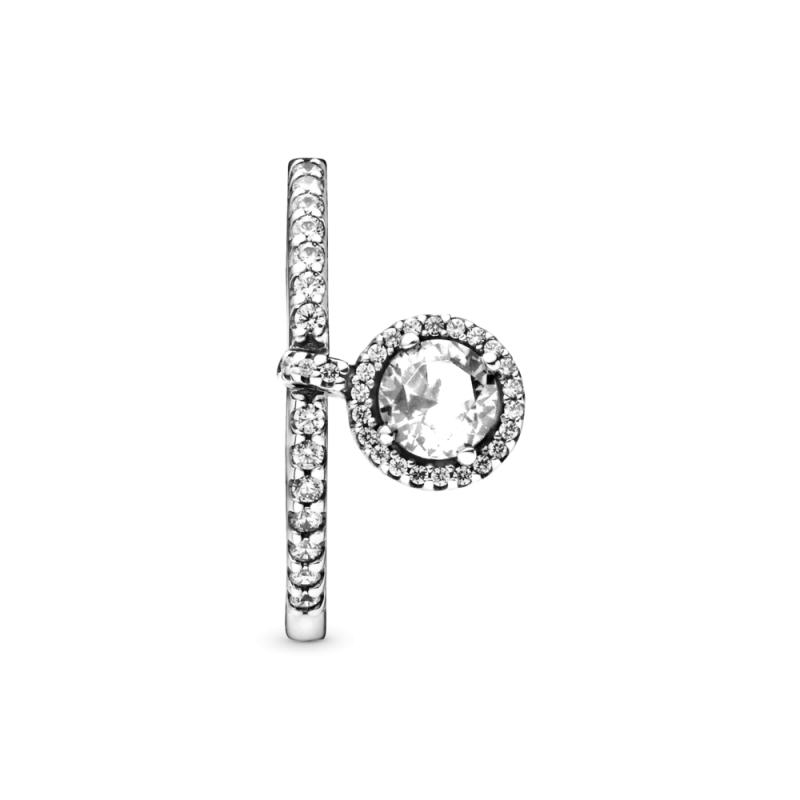 Prsten sa visećim prozirnim svetlucavim medaljonom